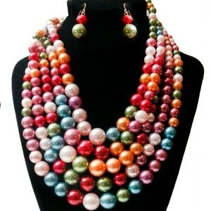 Jewelry - Dark Multi Color 5 Layered Pearl Set